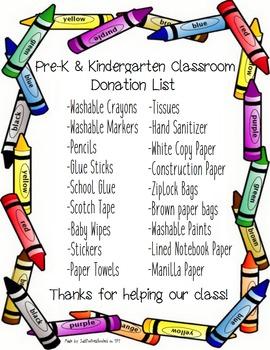 Pre-K & Kinder Classroom Donations List