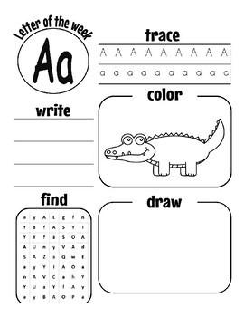 Pre K/Kinder Letter Aa worksheets