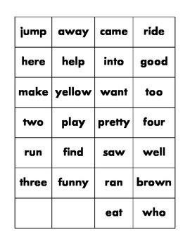 Pre-K & Kinder Smallest Dolch Word Cards