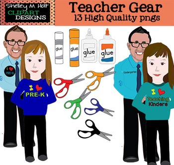 Pre-K / Kinder Teachers and Gear Clipart - Commercial and