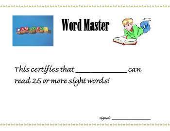 Pre-K, Kindergarten, 1st Grade Skill Master Certificates
