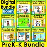 Boom Cards Bundle PreK Kindergarten Letters #s  Rhymes Dig