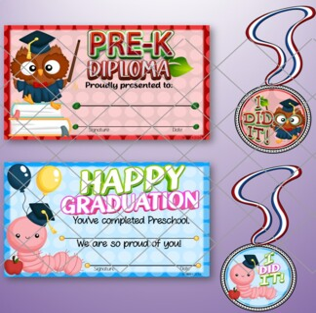 Pre-K & Kindergarten Graduation Certificates and Medals Set - Fillable