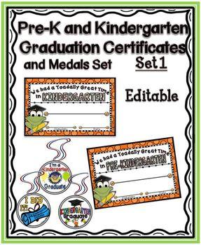 Pre-K & Kindergarten Graduation Certificates and Medals {Set 1}
