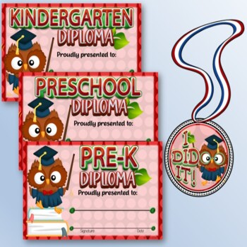 Pre-K & Kindergarten Certificates and Medals Set – Fillable Set 3