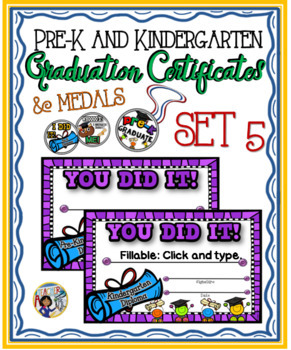 Pre-K & Kindergarten Certificates and Medals Set – Fillable Set 5