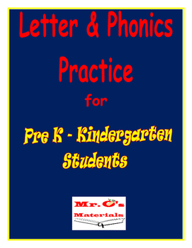 Pre K & Kindergarten Letter and Phonics Practice Book