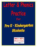 Pre K & Kindergarten Letter and Phonics Practice Book