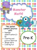 Pre-K/Kindergarten Math Packet-ID Numbers 1-5, counting, Shapes,