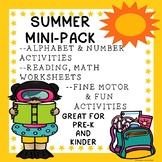 Pre-K Kindergarten Mini Summer Packet Alphabet Numbers Fin