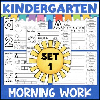 Kindergarten Morning Work Set 1 - Letters, Numbers, Colors - 9 Weeks