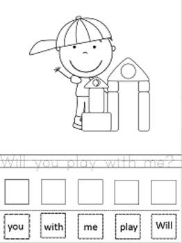 Pre-K, Kindergarten Scrambled Sentences Worksheets and Center Activities