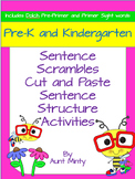 Pre-K, Kindergarten Scrambled Sentences Worksheets and Cen