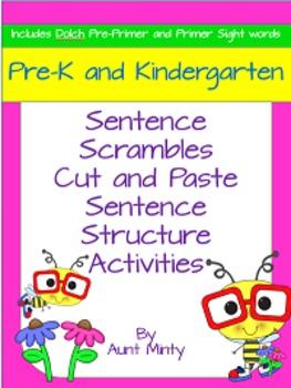 Pre-K, Kindergarten Scrambled Sentences Worksheets and Cen