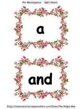 Pre-K & Kindergarten Sight Word Cards!