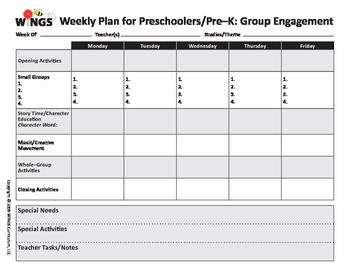 Pre-K Lesson Plan Form