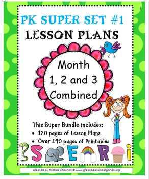 Pre-K Lesson Plans SUPER Bundle MONTH 1- 2 and 3 by GBK!!!! New!!!