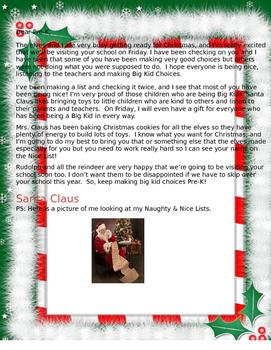 Pre-K Letter From Santa