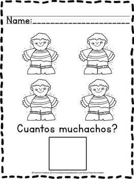 Pre - K Math Counting Worksheets: English & Spanish  (Distance Learning)