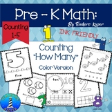 Pre - K Math  Counting Worksheets  (INK FRIENDLY)  (Distan