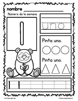 Pre-K Math Numbers 1-5 Number of the Week en Espanol