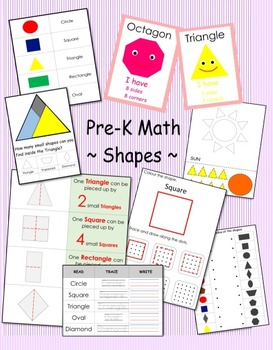 Pre-K Math - Shapes Learning with Worksheet