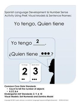 Pre K Math Talk Activity using Visual Models and Spanish Sentence Frames