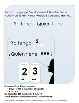 Pre K Math Talk Activity using Visual Models and Spanish S