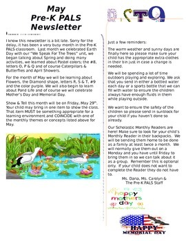 Pre-K May Newsletter
