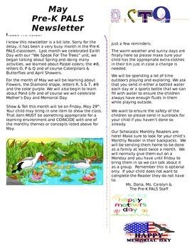 Pre-K May Newsletter