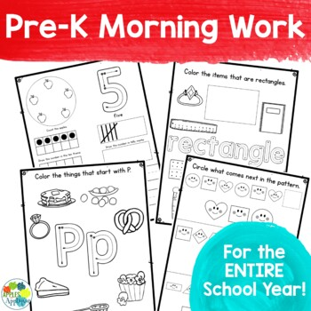 Pre-K Morning Work for the ENTIRE School Year Distance Learning