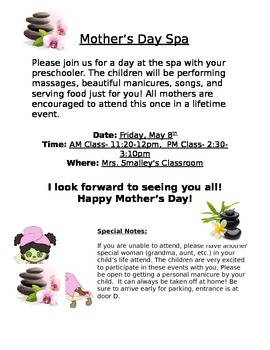 Pre K Mother's Day Party Invite
