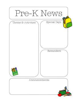 Pre-K Newsletter School Theme