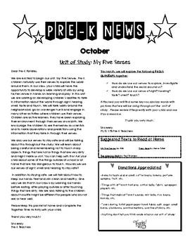Pre-K Newsletter for October: My Five Senses