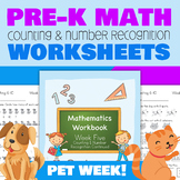 Pre-K Number Recognition and Counting Worksheets (Week 5 -