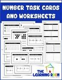 Pre K Number Task Cards and Worksheet