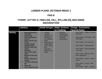 Pre-K October Lesson Plans