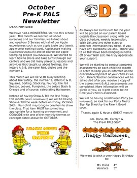 Pre-K October Newsletter