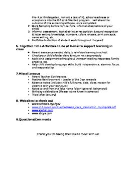 Pre K Orientation, Meet the Teacher / Back to School Night Agenda