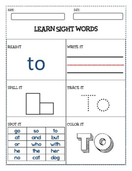 Pre-K PALS | SIGHT WORDS [The]