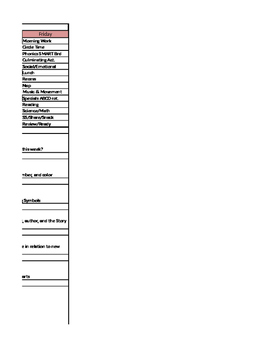 Pre-K PK Weekly Lesson Plan Layout (Schedule) with Standards for Oklahoma