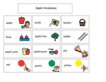 Pre-K PPCD Kindergarten Apple Vocabulary