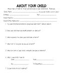 Pre-K Parent Survey Beginning of Year