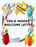 Pre-K Parent Welcome Letter
