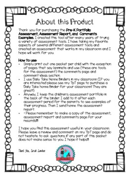 Pre-K Portfolio Assessment Assessment Report and Comments Examples