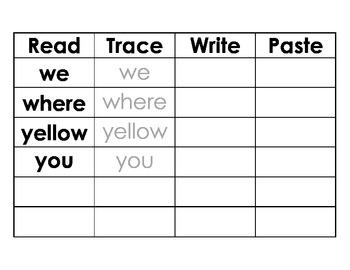 Pre-K Read Trace Print Paste