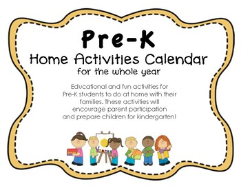 Pre-K Reading and Math Common Core Home Activities Calendar Yearlong