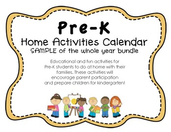 Pre-K SAMPLE Reading and Math Common Core Home Activities Calendar Yearlong