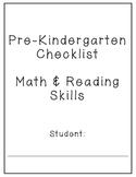 Pre-K Reading and Math Skills Checklist