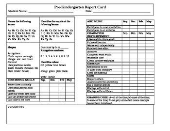 Pre-K Report Card/Assesment